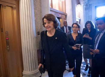 Dianne Feinstein arrives for a vote as her panel awaits a FBI report on Supreme Court nominee Brett Kavanaugh, at the Capitol in Washington, Wednesday, October 3, 2018