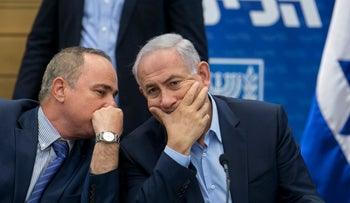 Netanyahu and Steinitz at a Likud party meeting, 2017.