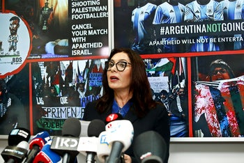 Miri Regev at a press conference following the Argentinian football team's cancelled participation in a match in Israel. 6 June 2018.