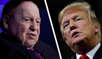 U.S. President Donald Trump (right) and Jewish billionaire Sheldon Adelson.