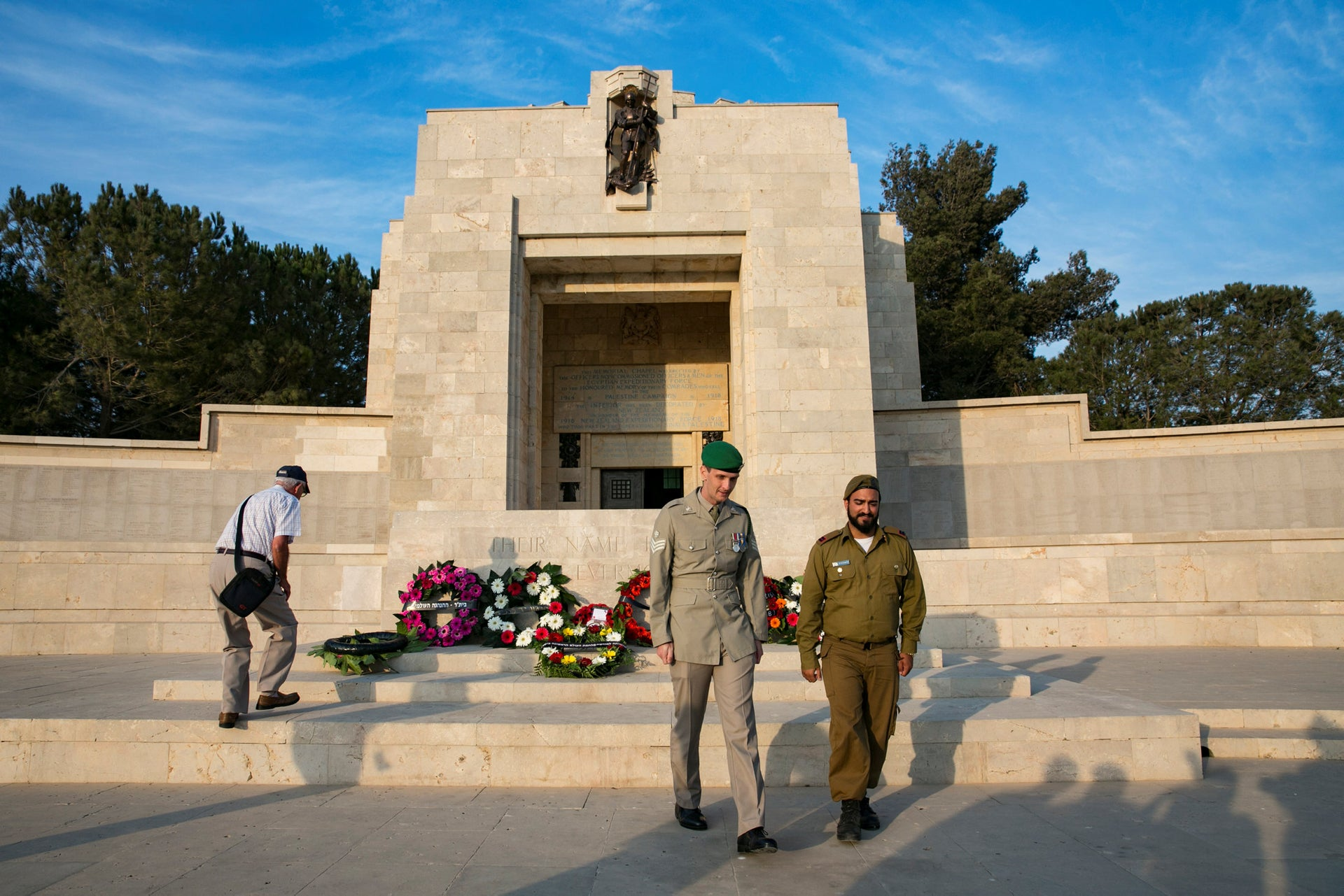 Soldiers after they laid wreaths for Jewish Legion fallen at the British military cemetery in Jerusalem, October 10, 2018.