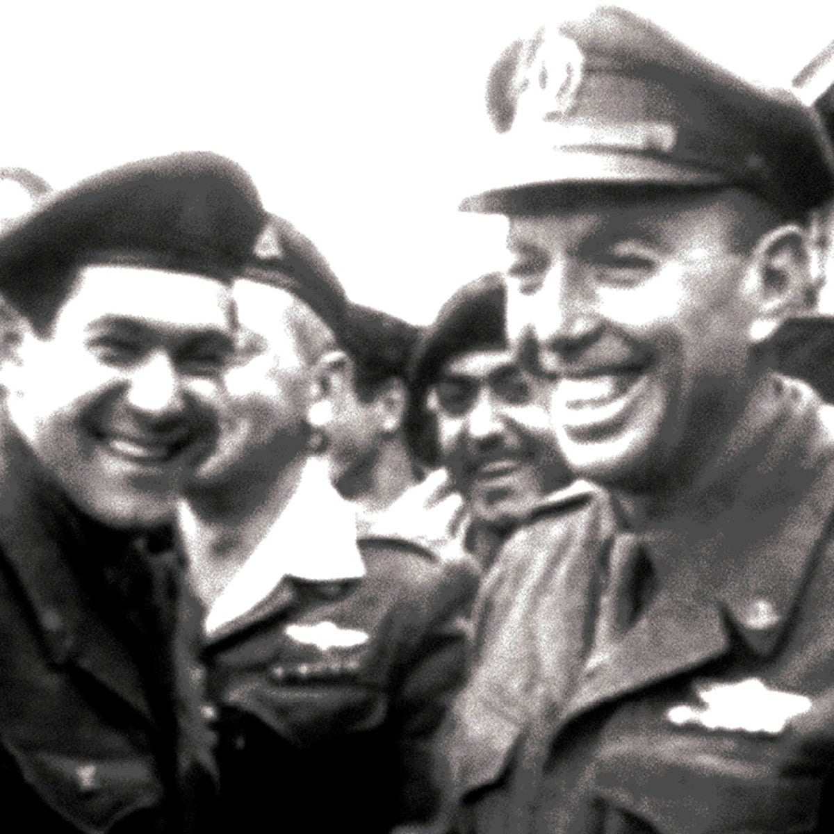 "Issachar ""Yiska"" Shadmi, right, following his trial. From the documentary series ""Tkuma: Israel's First 50 Years."""