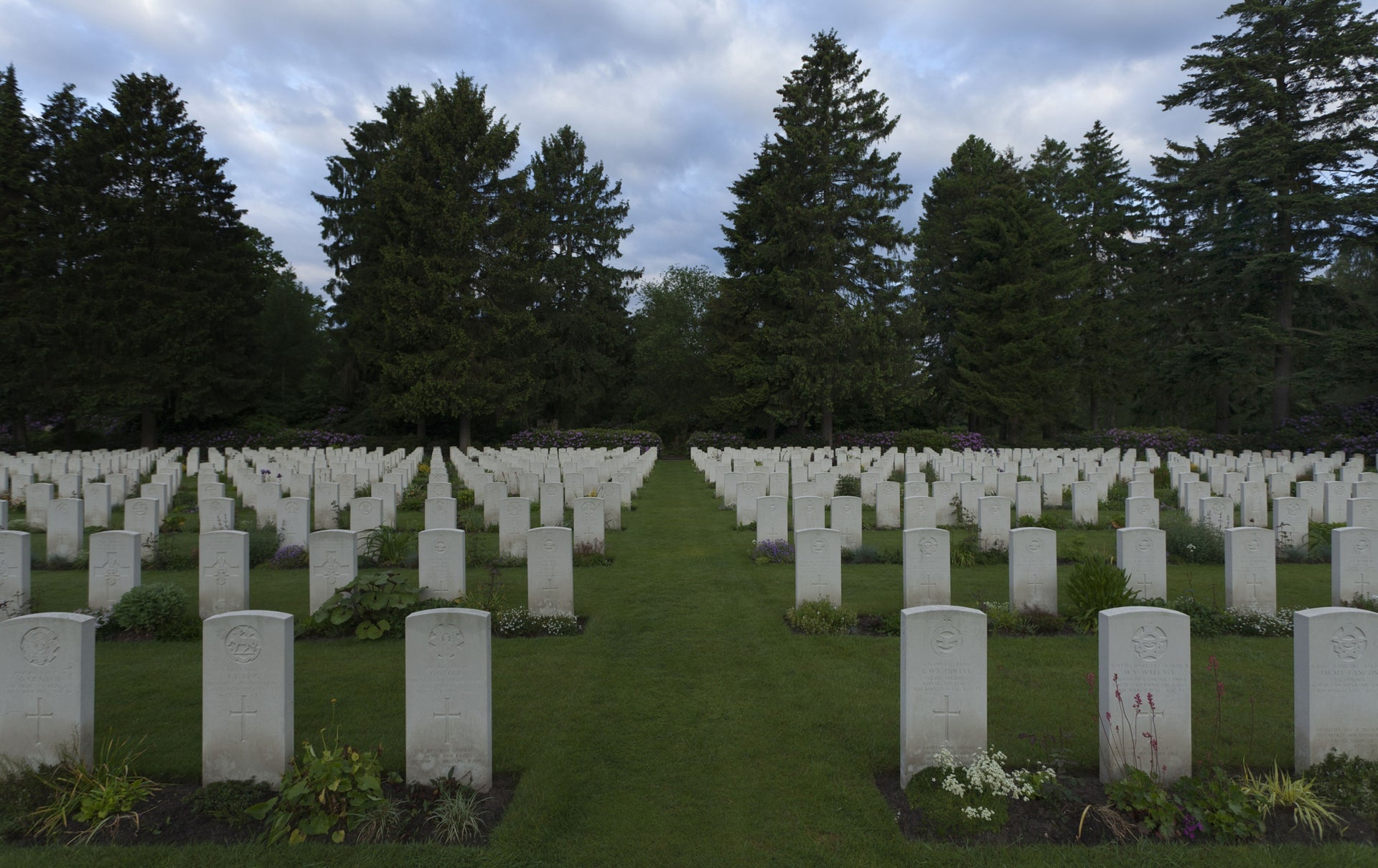 A British military cemetery in Hamburg. The dead have no needs. They don't eat food and they don't drive cars.