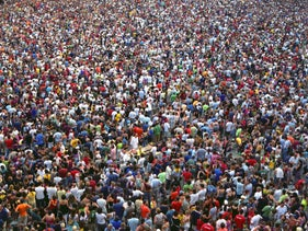 A crowd in Siena, Italy, during the running of the Palio.