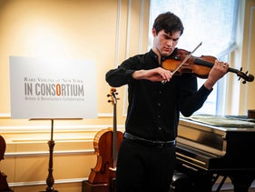Nathan Meltzer, an 18-year-old American Jew playing the rare Ames Stradivarius, October 9, 2018.