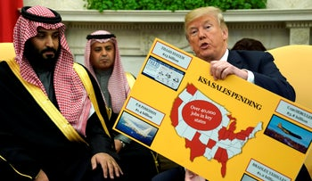 U.S. President Donald Trump holds a chart of military hardware sales as he welcomes Saudi Arabia's Crown Prince Mohammed bin Salman to the White House in Washington, U.S. March 20, 2018