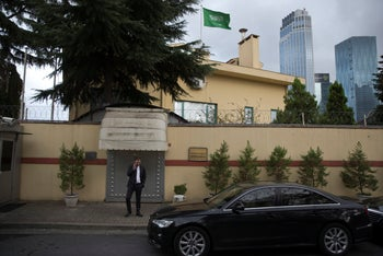 Saudi Arabia's consulate in Istanbul, Turkey, site of the alleged arrest, torture and killing of Saudi Arabian journalist Jamal Khashoggi, October 13, 2018.