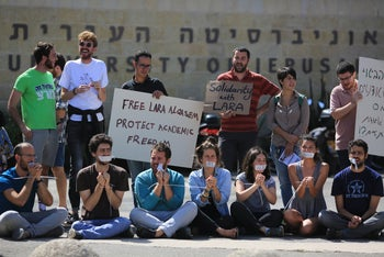 A dozen of students and lecturers protest against Alqasem's detention at Jerusalem's Hebrew University.