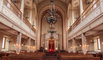 Interior of Lengnau synagogue, built in the mid-19th century, Switzerland, October 2018. At its peak in 1850 the community totaled some 1,500 people.