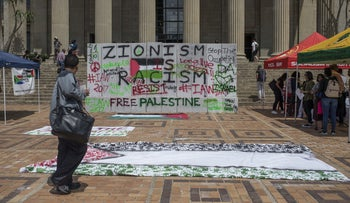A student protest against Israel's policies at Witwatersrand University, Johannesburg, South Africa, March 8, 2017.