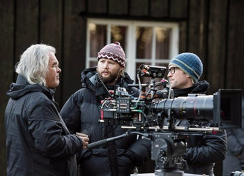 """Director Paul Greengrass on the set of """"22 July."""""""