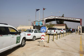 The Jaber border crossing between Jordan and Syria (Naseeb crossing on the Syrian side) on the day of its reopening, October, 15, 2018.