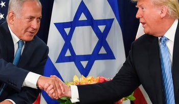 US President Donald Trump shakes hands with Israeli Prime Minister Benjamin Netanyahu on September 26, 2018 in New York on the sidelines of the UN General Assembly
