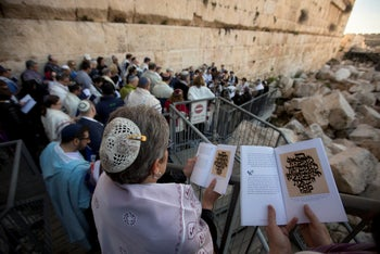 American and Israeli Reform rabbis pray adjacent to the Western Wall, the holiest site where Jews can pray in Jerusalem's old city. Feb. 25, 2016