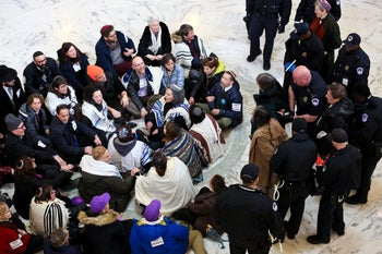 Over 100 rabbis and Jewish activists demonstrating to keep DACA in effect, at the Russell Senate Office Building in Washington, January 2018.