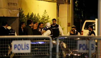 Turkish police officers gather as they prepare to enter the Saudi consulate to investigate Jamal Khashoggi's disappearance, Istanbul, Turkey, October 15, 2018.
