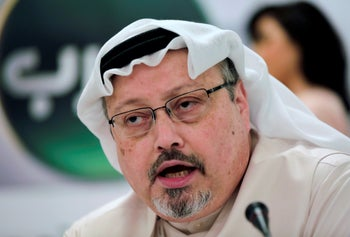 Saudi journalist Jamal Khashoggi speaks during a press conference in Manama, Bahrain, February 1, 2015.