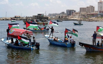 Gazans protesting Israel's blockade of the Hamas-controlled territory, June, 2018.