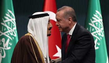 ARCHIVE - Turkish President Recep Tayyip Erdogan and Saudi Arabia's King Salman in Ankara, April 12, 2016