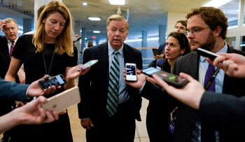 Senator Lindsay Graham speaks with reporters ahead of the weekly policy luncheons on Capitol Hill in Washington, U.S., October 2, 2018.