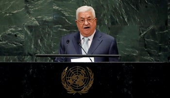 Palestine's President Mahmoud Abbas addresses the 73rd session of the United Nations General Assembly, at U.N. headquarters, Thursday, Sept. 27, 2018