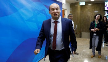 Israeli Minister of Education Naftali Bennett attends the weekly cabinet meeting at his office in Jerusalem, October 15, 2017.
