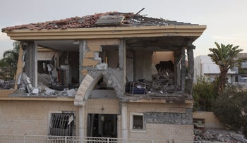 A home in Be'er Sheva damaged by rocket early on October 17, 2018.