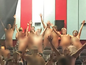 "Audience members at last week's nude screening. ""Many people report a better acceptance of themselves."""