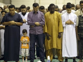 Muslim worshippers in a Marseille mosque.