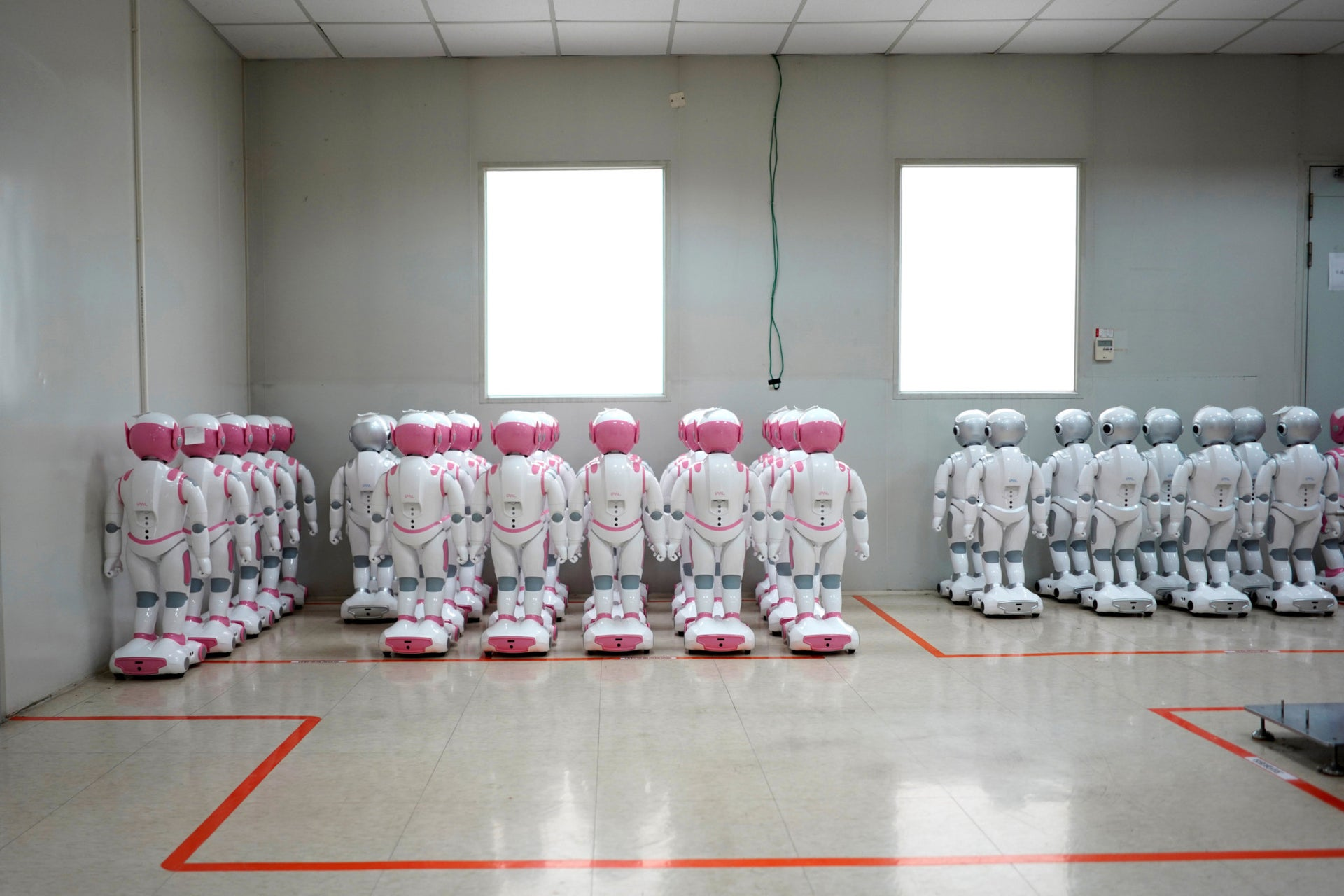 A number of robots are lined up in China