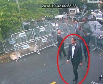 A man identified by Turkish officials as Maher Abdulaziz Mutreb, walks toward the Saudi Consulate in Istanbul before writer Jamal Khashoggi disappeared, October 2, 2018