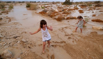 A flood in the Arava Desert in Israel's south, October 20, 2018.