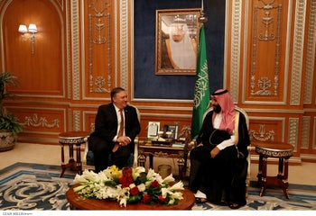 U.S. Secretary of State Mike Pompeo meets with the Saudi Crown Prince Mohammed bin Salman during his visits in Riyadh, Saudi Arabia, October 16, 2018.