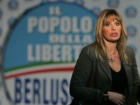 Alessandra Mussolini, granddaughter of Italian fascist dictator Benito Mussolini, looks on at the People of Freedom party electoral headquarters, in Rome, Monday, April 14, 2008