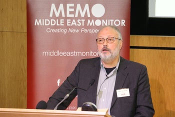 Saudi dissident Jamal Khashoggi speaks at an event hosted by Middle East Monitor in London Britain, September 29, 2018
