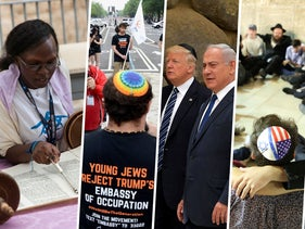 From left: Members of the Abayudaya community during their Birthright visit to the Western Wall / Members of IfNotNow and Rabbinical school students blocking traffic while protesting Trump's US Embassy move to Jerusalem / Donald Trump and Benjamin Netanyahu / The Western Wall / Eritrean migrants wear chains to mimic slaves at a demonstration against the Israeli government's policy