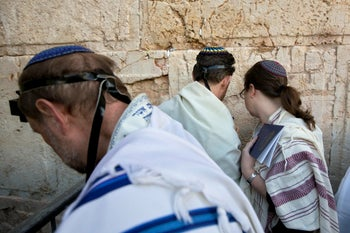 American and Israeli Reform rabbis pray at the Western Wall in Jerusalem's Old City, 2016.