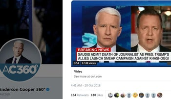 Image of Anderson Cooper on his CNN show 'Anderson Cooper 360,' October 20, 2018