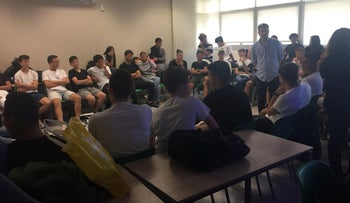 Breaking the Silence executive director speaking to students at Tichonet high school in Tel Aviv, October 21, 2018.