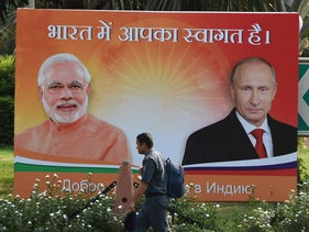Billboards with the images of Indian Prime Minister Narendra Modi and Russian President Vladimir Putin ahead of Putin's official visit to India where the missile deal was signed. New Delhi, October 4, 2018