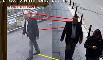 Image from CNN video apparently showing Saudi operative in Jamal Khashoggi's clothes after he was killed, October 22, 2018