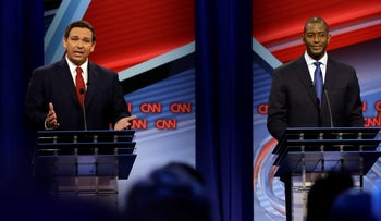 Florida Republican gubernatorial candidate Ron DeSantis, left, speaking about his Democratic opponent Andrew Gillum during a CNN debate in Tampa, October 21, 2018.