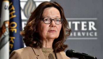 CIA Director Gina Haspel addresses the audience as in Louisville, U.S.