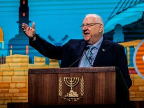 President Rivlin addressing the Jewish Federations' GA in Tel Aviv, October 23, 2018.