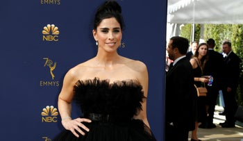 Sarah Silverman on the arrivals carpet at the 70th Primetime Emmy Awards in Los Angeles, September 17, 2018.