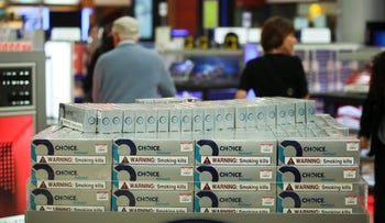 Packets of duty free cigarettes