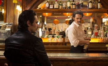 """James Franco portraying twins Vincent and Frankie Martino in """"The Deuce,"""" an HBO series about Times Square in the early 1970s."""