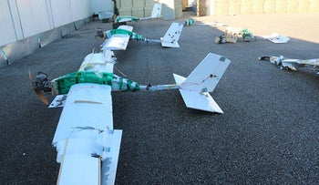 Drones shot down by Russian forces over the Khmeimim Airbase in Syria, January 2018.
