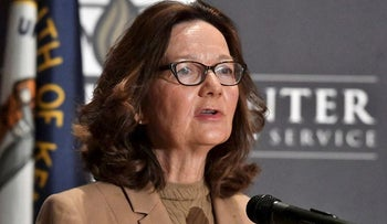 CIA Director Gina Haspel addresses the audience as part of the McConnell Center Distinguished Speaker Series at the University of Louisville, Monday, Sept. 24, 2018