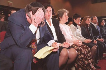 Stephen Flatow, left, father of Alissa Flatow who was killed by a terrorist bomb in Israel in 1995, at a memorial service in New York, for the latest victims of the Hamas terror bombings in Jerusalem and Tel Aviv, March 1996.